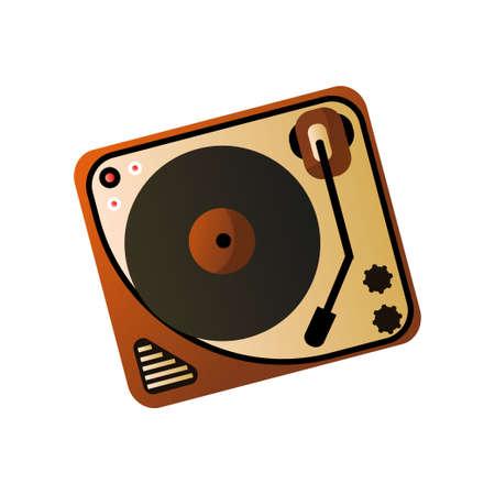 Old retro vintage vinyl player, home media device