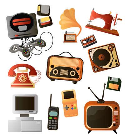Conjunto de diferentes objetos retro caseros y dispositivos electrónicos.