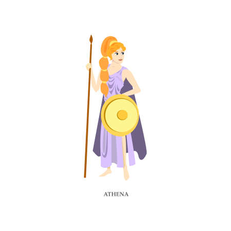 Cute red hair greek woman god Athena with gold shield