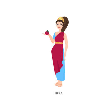 Cute sexy greek woman god Hera, red, blue clothes Illustration