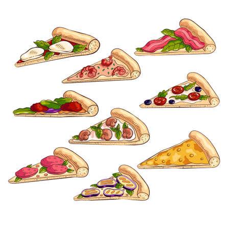 Set of different tasty slices of fresh italian pizza