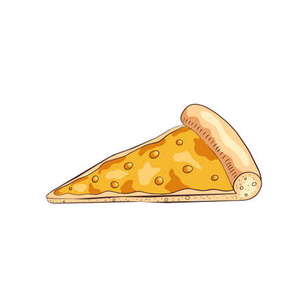 Slice of tasty cooked pizza with different four cheeses, restaurant food. Cartoon style. Vector illustration on white background