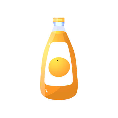 Glass transparent bottle of fresh natural orange juice