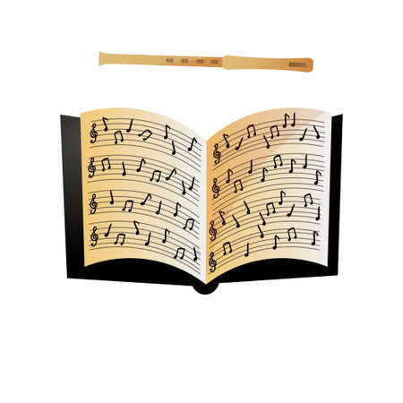 Open notebook with musical notes and modern wood flute
