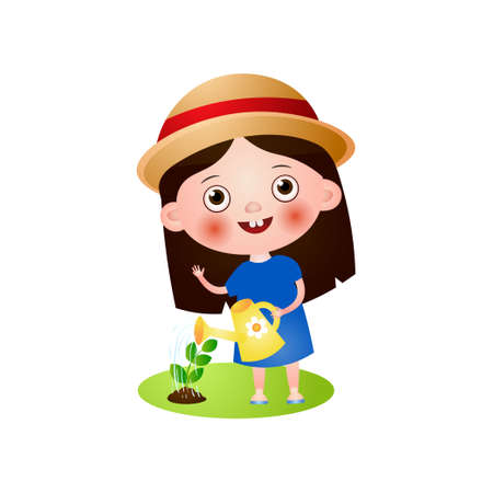 Happy smiling cute girl in summer hat use watering can