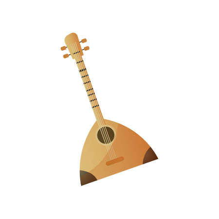 Russian wood musical instrument with four strings balalaika Ilustrace