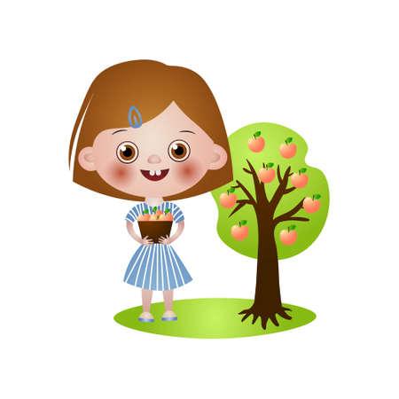Cute smiling kid girl take apples from tree in basket
