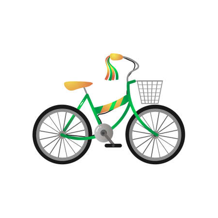 Green metal kid bicycle with yellow seat and front basket 일러스트