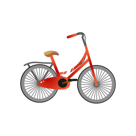 Small red metal bicycle for children with pedal protect