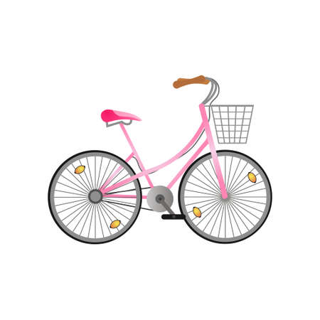 Pink metal woman bicycle with metal basket and pink seat