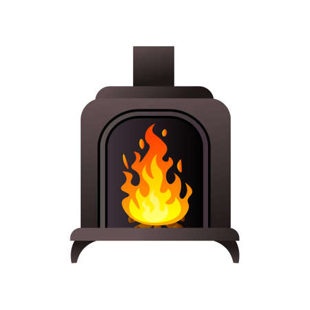 Black metal material fireplace with pipe with burning fire  イラスト・ベクター素材