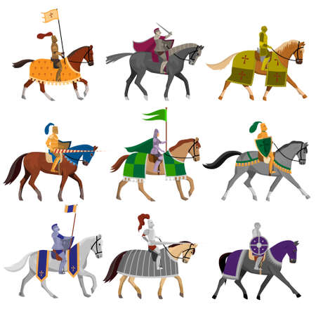 Set of old medieval knights in helmet with different horses  イラスト・ベクター素材