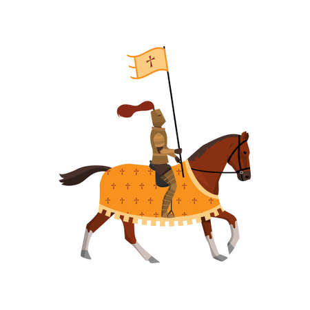 Medieval knight with cross flag and brown horse with cover