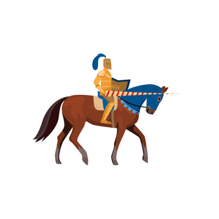 Medieval knight in gold armor with long spear with horse Archivio Fotografico - 125293735