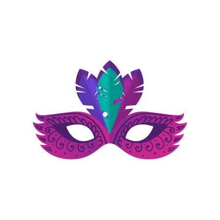 Violet carnival mask with modern ornament and colorful feather