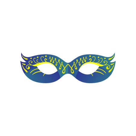 Carnival eye mask in blue gradient color with ornament Ilustrace