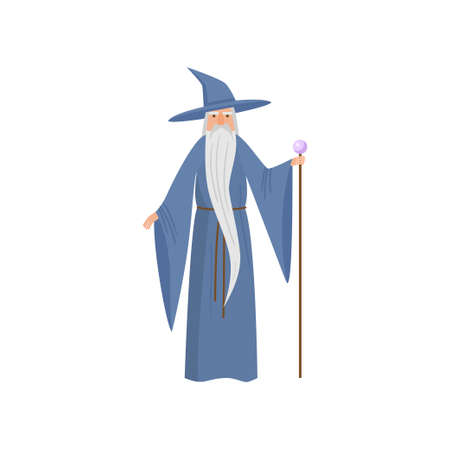 Fairy tale magician senior man with long blue clothes
