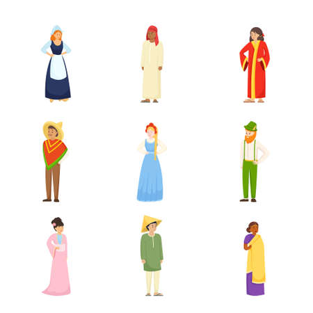 Set of different people character in national colorful clothes