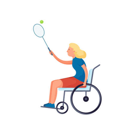 Cute blonde girl with disability in wheelchair play tennis