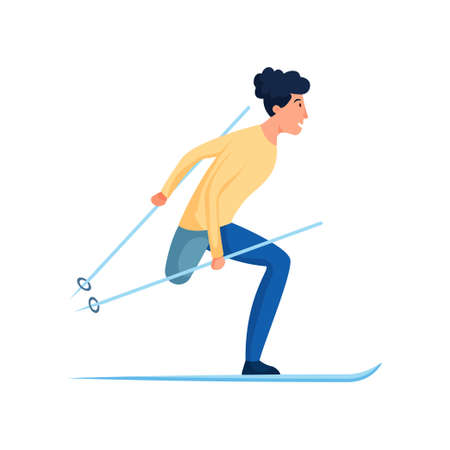 Cute smiling man with amputated leg winter skiing Illustration