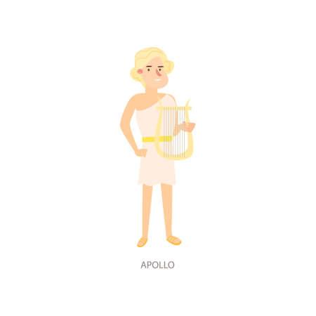 Cute blonde man ancient mythology apollo greek god Illustration