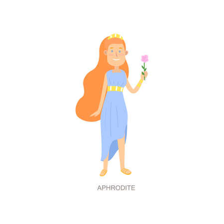 Cute red hair greek mythology woman god aphrodite 矢量图像