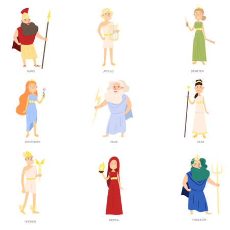 Set of greek ancient gods, different colorful character