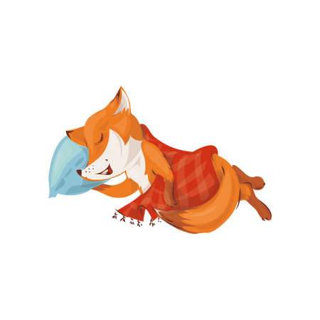 Cute colorful red fox sleeping at soft pillow