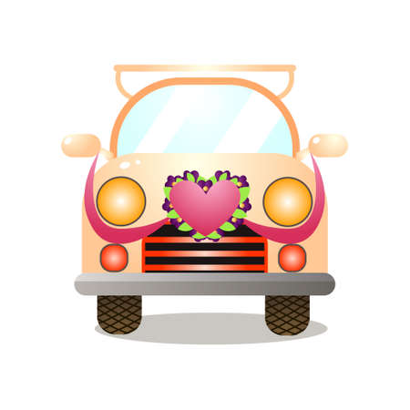 Front view of in love couple retro colorful yellow car 일러스트