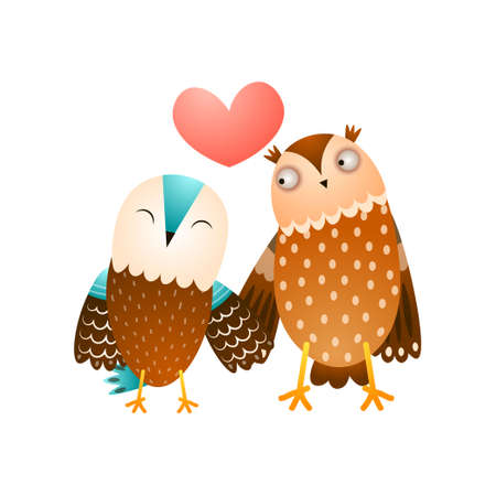 Cute forest in love couple of wild owl family Çizim