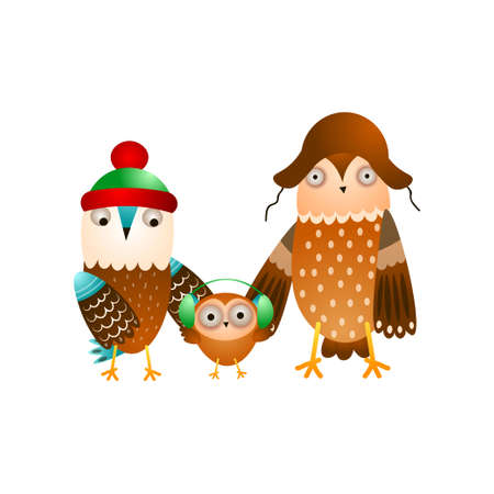 Cute happy family of wild owl in winter headwear 일러스트