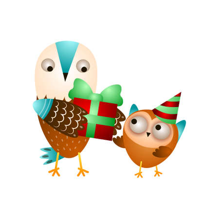 Mother wild owl gives gift box at son birthday 일러스트