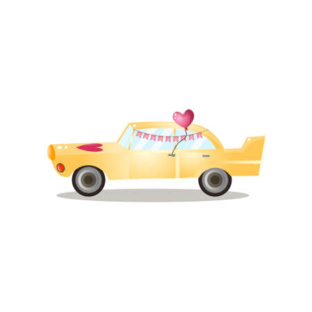 Just married yellow retro car with ribbon flag Çizim