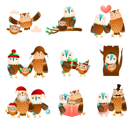 Set of cute family owl in different daily funny situation