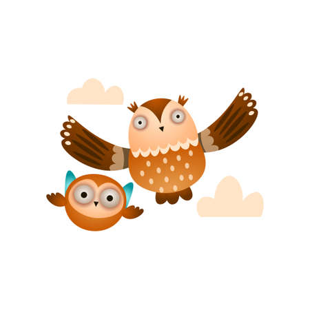 Father owl with his kid owl flying in the cloudy sky 일러스트