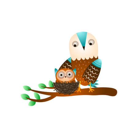 Cute mother owl stay on tree branch near the kid