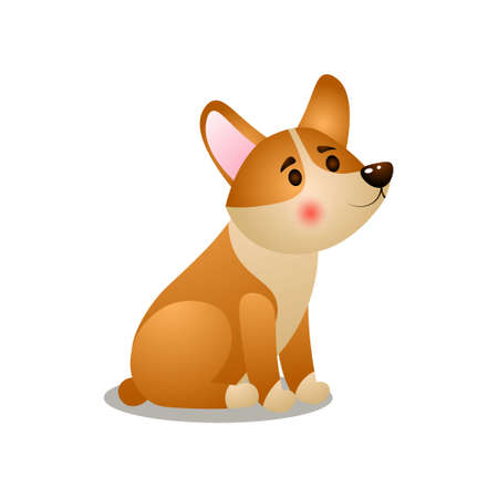 Cute puppy corgi dog waiting his morning food Ilustrace