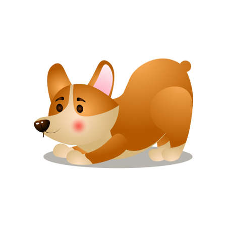 Cute happy corgi dog make morning exercise 일러스트