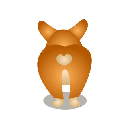 Back view of cute corgi dog with heart shape Ilustrace