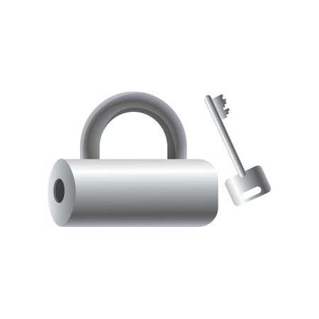 Silver metal tube padlock with steel key, security house object. Cartoon style. Vector illustration on white background