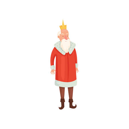 Cute old royal king with white beard and red mantle