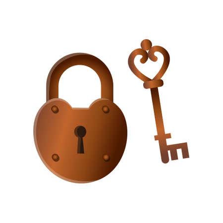 Retro vintage closed bronze metal lock with old key Foto de archivo - 125293965