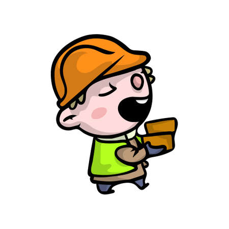 Cute smiling boy in builder clothes with orange protection helmet. Cartoon style.