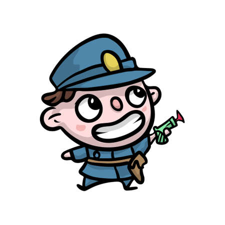 Cute smiling kid in policeman blue clothes with plastic pistol, ready for security. Cartoon style.