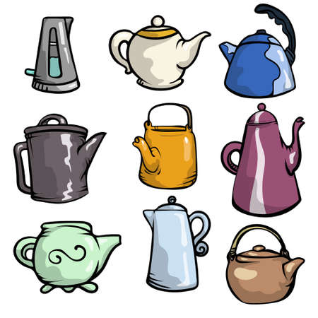 Set of colorful ceramic teapots and plastic or metal kettle, kitchen pots. Cartoon style.