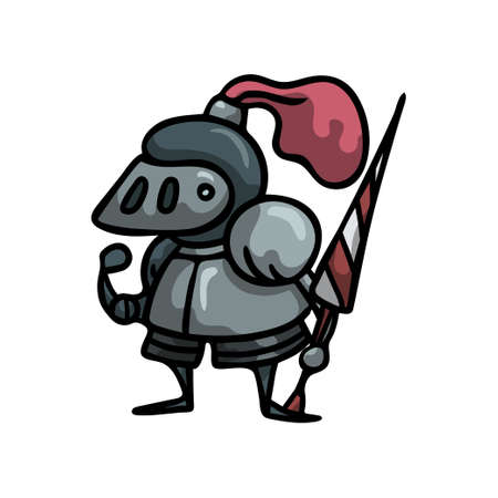 Medieval knight in steel metal armor with red feather helmet