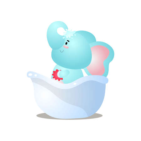 Funny kid blue elephant is take a cold shower in bathtub. Cartoon style. Vector illustration on white background