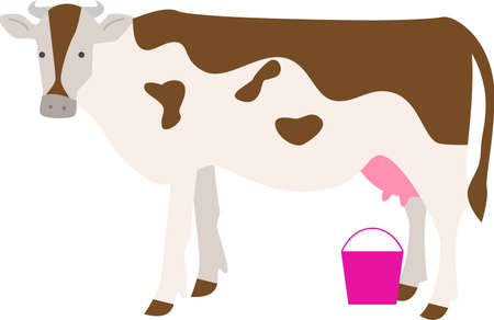 Cute and funny farm cow with pink bucket ready