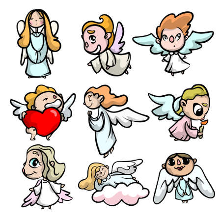 Set of cute kid angels with face and light wings