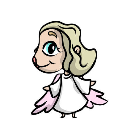 Cute blonde angel girl with big blue eyes and pink wings. Cartoon style. Vector illustration on white background